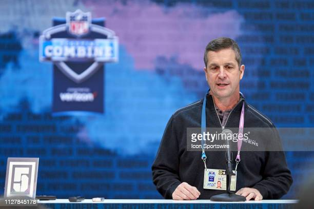 Baltimore Ravens head coach John Harbaugh speaks to the media during the NFL Scouting Combine on February 27 2019 at the Indiana Convention Center in...