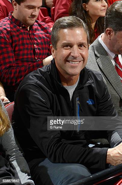 Baltimore Ravens head coach John Harbaugh watches the game between the Maryland Terrapins and the Indiana Hoosiers at Xfinity Center on January 10...