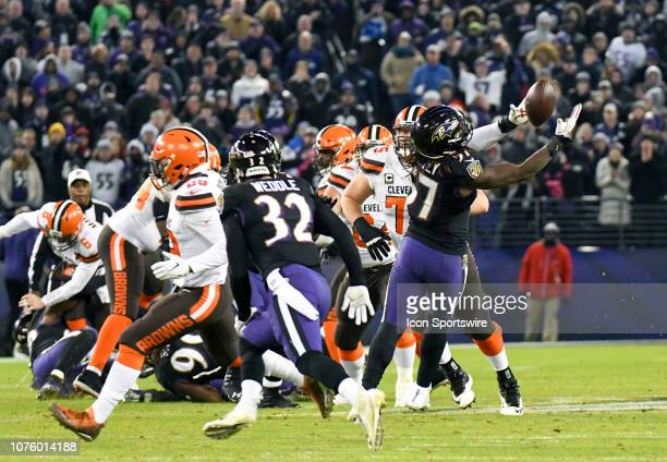 Baltimore Ravens inside linebacker CJ Mosley intercepts a fourth quarter pass from Cleveland Browns quarterback Baker Mayfield on December 30 at MT...