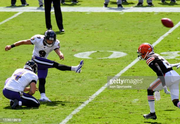 Baltimore Ravens kicker Justin Tucker kicks a field goal out of the hold of punter Sam Koch against the Cleveland Browns on September 13 at M&T Bank...