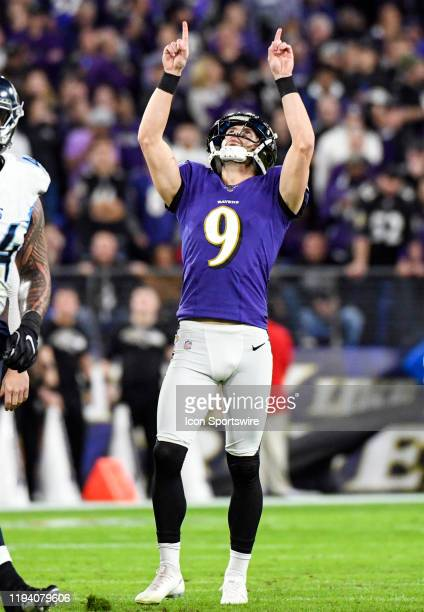 Baltimore Ravens kicker Justin Tucker points skyward after kicking a field goal on January 11 at MT Bank Stadium in Baltimore MD in the AFC...