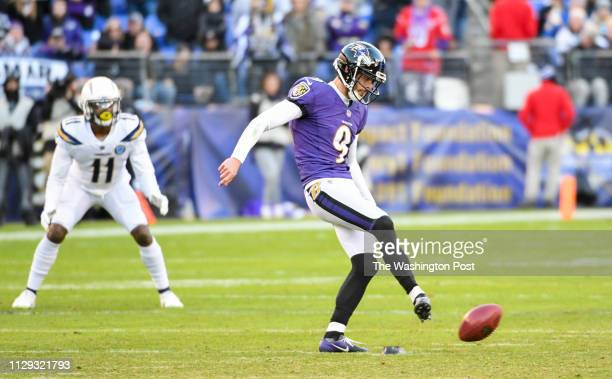 Baltimore Ravens kicker Justin Tucker tries an onside kick during fourth quarter action against the Los Angeles Chargers during the NFL Wild Card...