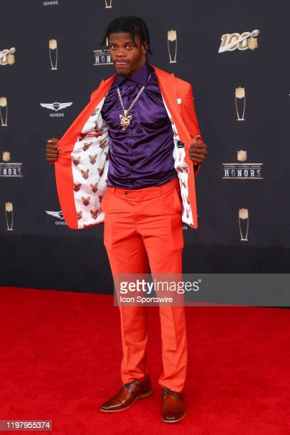 Baltimore Ravens Lamar Jackson poses on the Red Carpet prior to the NFL Honors on February 1 2020 at the Adrienne Arsht Center in Miami FL