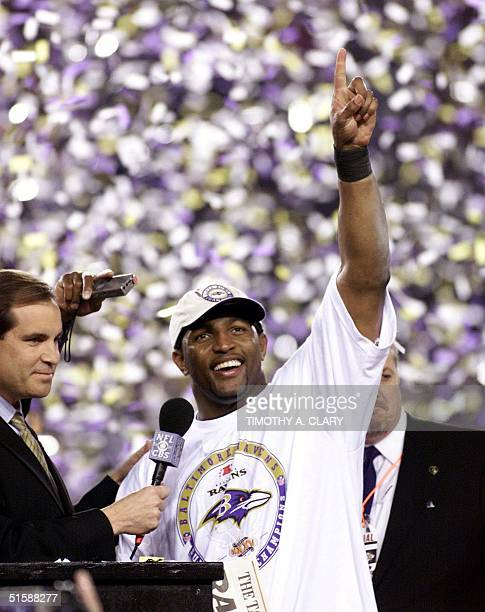 Baltimore Ravens' linebacker Ray Lewis celebrates winning Super Bowl XXXV 28 January at Raymond James Stadium in Tampa Florida Lewis was named the...