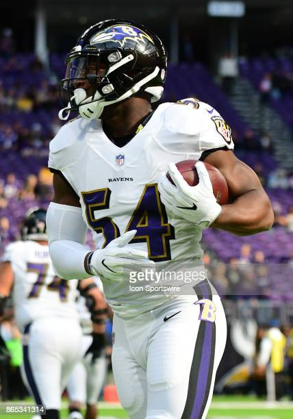 Baltimore Ravens linebacker Tyus Bowser warms up during a NFL game between the Minnesota Vikings and Baltimore Ravens on October 22 2017 at US Bank...