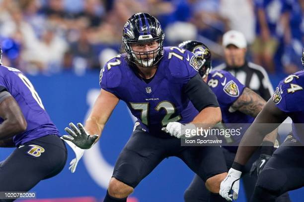 Baltimore Ravens offensive tackle Alex Lewis battles in action during the preseason NFL game between the Indianapolis Colts and the Baltimore Ravens...