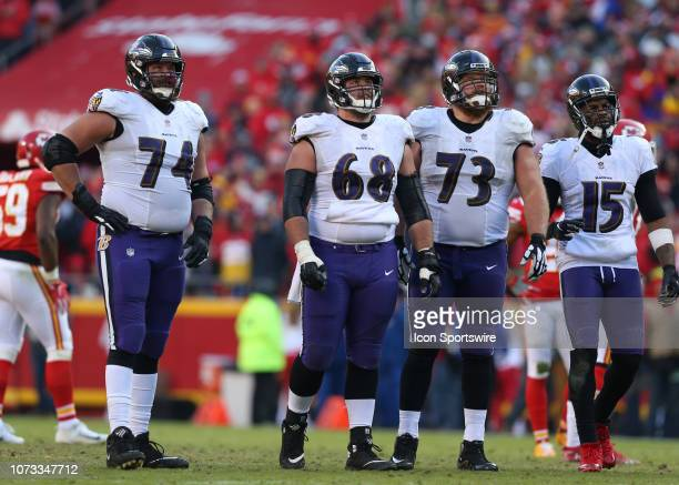 Baltimore Ravens offensive tackle James Hurst center Matt Skura and offensive guard Marshal Yanda in the fourth quarter of an NFL game between the...