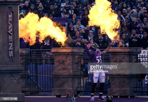 Baltimore Ravens outside linebacker Terrell Suggs takes the field for the game against the Los Angeles Chargers on January 6 at MT Bank Stadium in...