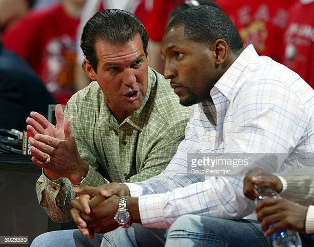 Baltimore Ravens owner Steve Bisciotti and Ravens linbacker Ray Lewis sit courtside as the Wake Forest Demon Deacons defeated Maryland Terps 9183...