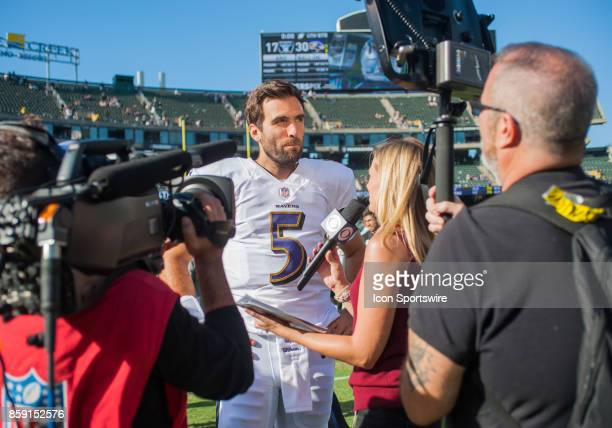 Baltimore Ravens quarterback Joe Flacco after the regular season game between the Oakland Raiders and the Baltimore Ravens on October 8 2017 at...