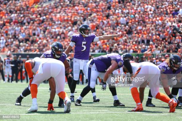 Baltimore Ravens quarterback Joe Flacco calls a play during the NFL game against the Baltimore Ravens and the Cincinnati Bengals on September 10th...