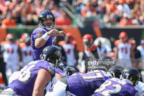 Baltimore Ravens quarterback Joe Flacco calls out a play during the NFL game against the Baltimore Ravens and the Cincinnati Bengals on September...