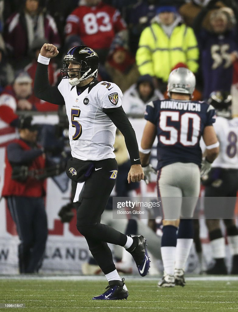 Baltimore Ravens quarterback Joe Flacco celebrates a touchdown to Boldin in the fourth quarter as the New England Patriots hosted the Baltimore Ravens in the AFC Championship Game at Gillette Stadium.