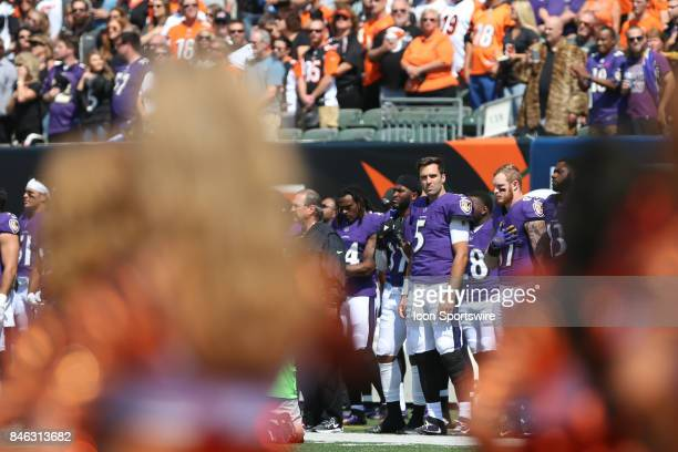 Baltimore Ravens quarterback Joe Flacco during the National Anthem before the NFL game against the Baltimore Ravens and the Cincinnati them Bengals...
