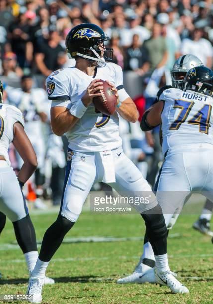 Baltimore Ravens quarterback Joe Flacco during the regular season game between the Oakland Raiders and the Baltimore Ravens on October 8 2017 at...