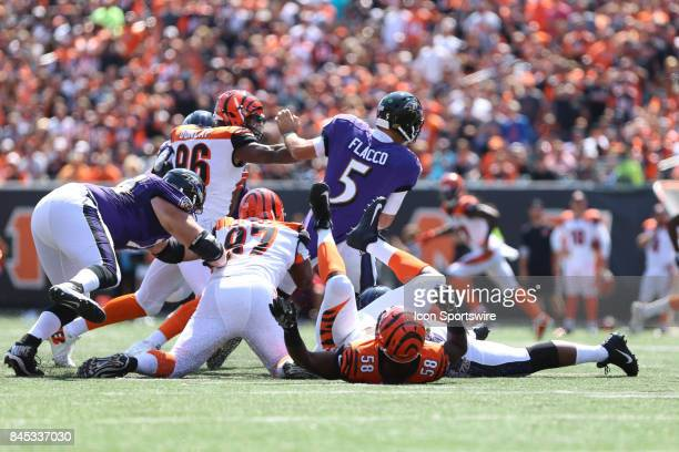 Baltimore Ravens quarterback Joe Flacco gets tackled during the NFL game against the Baltimore Ravens and the Cincinnati Bengals on September 10th...