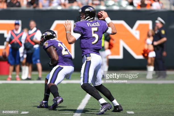 Baltimore Ravens quarterback Joe Flacco looks to pass during the NFL game against the Baltimore Ravens and the Cincinnati Bengals on September 10 at...