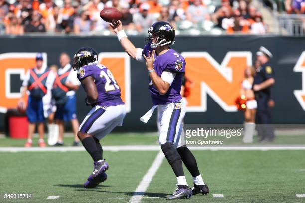 Baltimore Ravens quarterback Joe Flacco passes the ball during the NFL game against the Baltimore Ravens and the Cincinnati Bengals on September 10th...