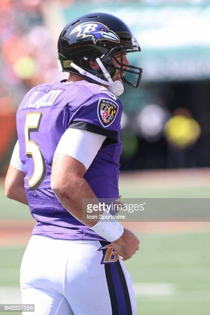 Baltimore Ravens quarterback Joe Flacco reacts after a touchdown during the NFL game against the Baltimore Ravens and the Cincinnati Bengals on...