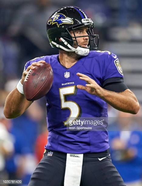 Baltimore Ravens quarterback Joe Flacco throws the football in action during the preseason NFL game between the Indianapolis Colts and the Baltimore...