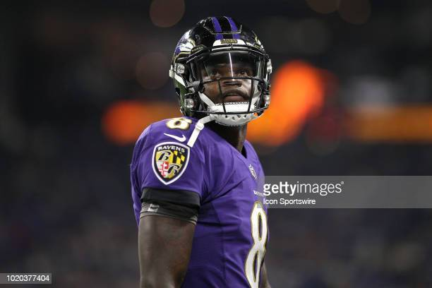 Baltimore Ravens quarterback Lamar Jackson looks on after a play in action during the preseason NFL game between the Indianapolis Colts and the...