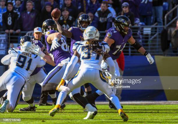 Baltimore Ravens quarterback Lamar Jackson makes a pass in the first half against the Los Angeles Chargers on January 6 at MT Bank Stadium in...