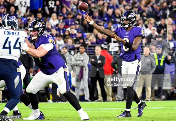 Baltimore Ravens quarterback Lamar Jackson throw a pass against the Tennessee Titans on January 11 at MT Bank Stadium in Baltimore MD in the AFC...