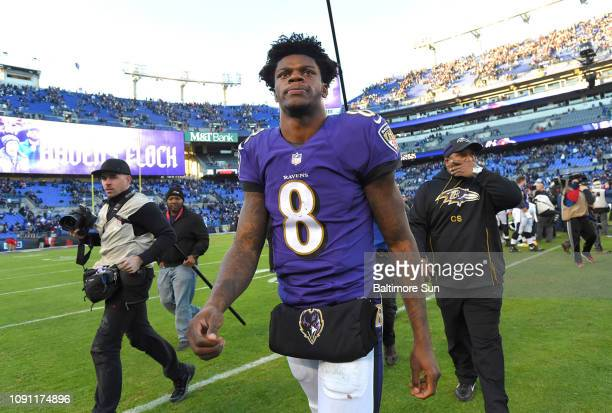Baltimore Ravens quarterback Lamar Jackson walks off the field after the Ravens lose to the Los Angeles Chargers 2317 on Sunday Jan 6 2019 at MT Bank...