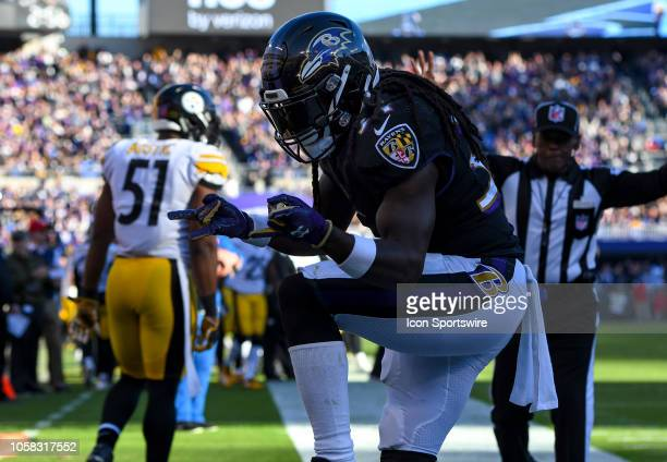 Baltimore Ravens running back Alex Collins celebrates a touchdown against the Pittsburgh Steelers on November 4 at MT Bank Stadium in Baltimore MD...