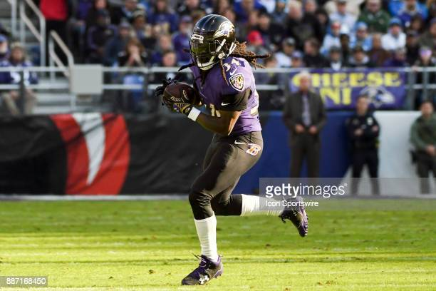 Baltimore Ravens running back Alex Collins in action against the Detroit Lions on December 3 at MT Bank Stadium in Baltimore MD The Baltimore Ravens...