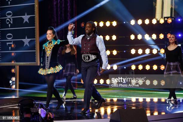 Baltimore Ravens running back Alex Collins rehearses before competing to be crowned the MVP MOST VALUABLE PERFORMER during a onehour interactive...