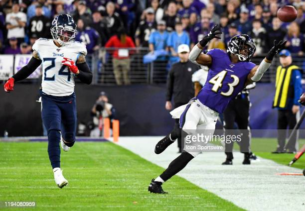 Baltimore Ravens running back Justice Hill cannot make a reception on ball thrown out of bounds on January 11 at MT Bank Stadium in Baltimore MD in...