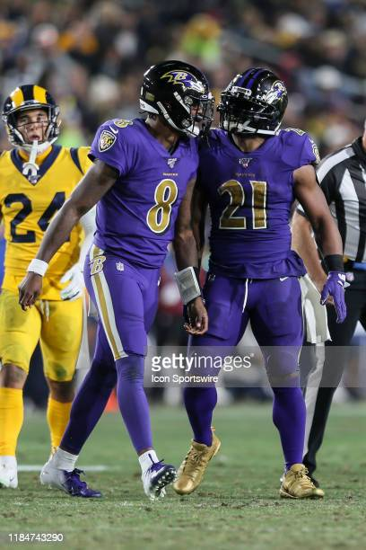 Baltimore Ravens running back Mark Ingram celebrates with Baltimore Ravens quarterback Lamar Jackson during the Baltimore Ravens vs Los Angeles Rams...