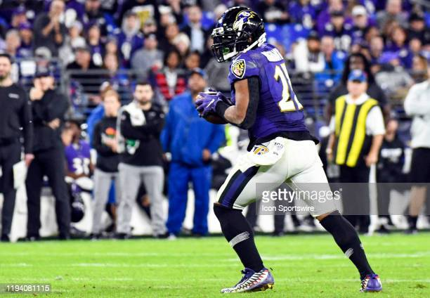 Baltimore Ravens running back Mark Ingram II makes a pass reception against the Tennessee Titans on January 11 at MT Bank Stadium in Baltimore MD in...