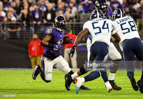 Baltimore Ravens running back Mark Ingram II runs the ball on January 11 at M&T Bank Stadium in Baltimore, MD. In the AFC Divisional Playoff against...
