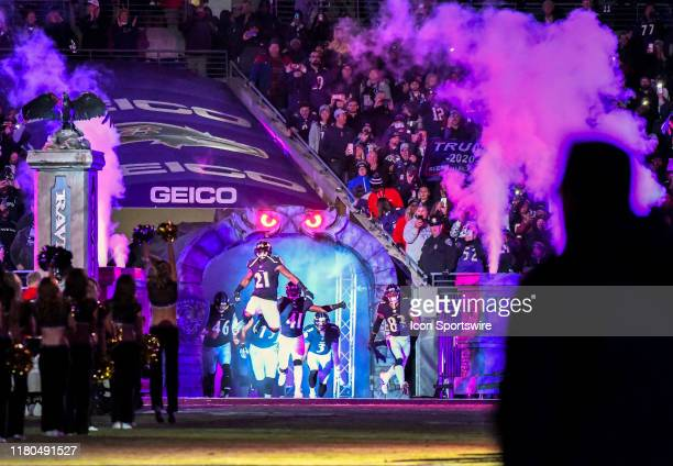 Baltimore Ravens running back Mark Ingram leads the Ravens out of the tunnel for the game against the New England Patriots on November 3 at MT Bank...