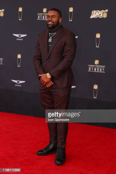 Baltimore Ravens running back Mark Ingram poses on the Red Carpet prior to the NFL Honors on February 1 2020 at the Adrienne Arsht Center in Miami FL