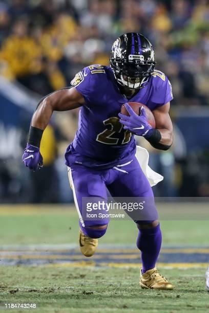 Baltimore Ravens running back Mark Ingram runs the ball during the Baltimore Ravens vs Los Angeles Rams football game on November 25 at the Los...