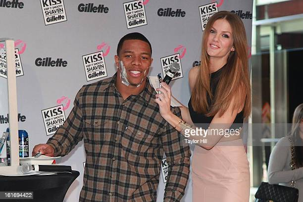 Baltimore Ravens running back Ray Rice and actress Brooklyn Decker attend Gillette's Largest Shave & Kiss Valentine's Day Event at The Shops at...