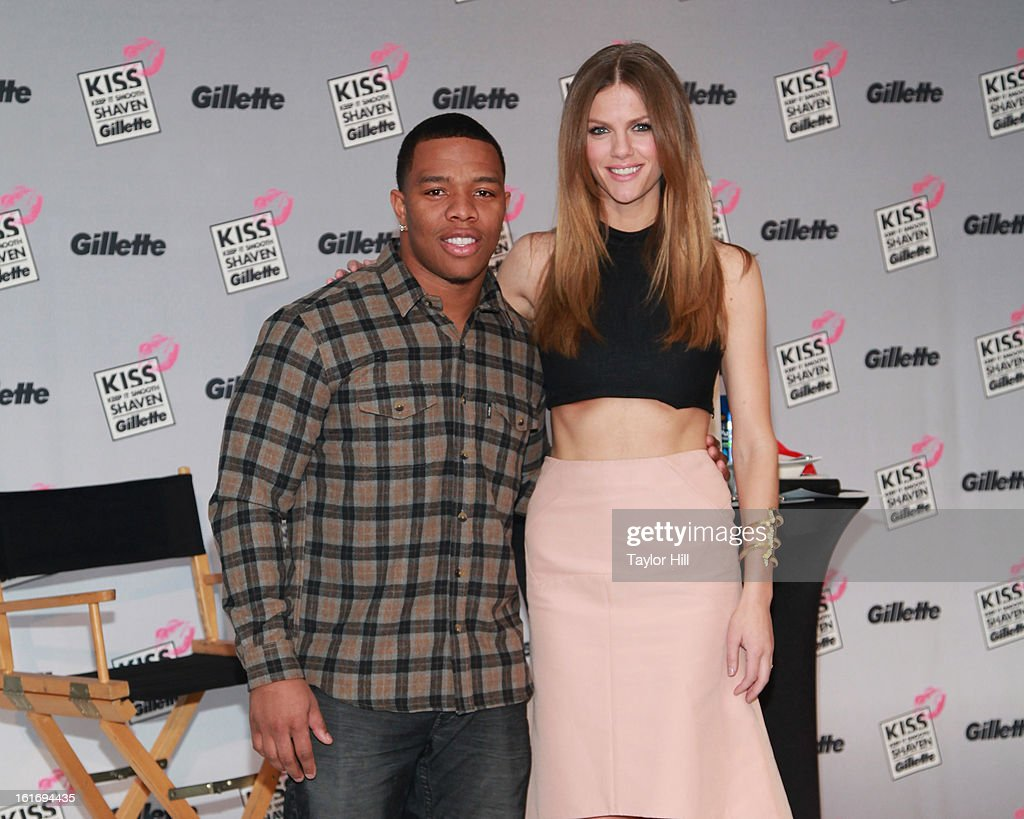 Baltimore Ravens running back Ray Rice and actress Brooklyn Decker attend Gillette's Largest Shave & Kiss Valentine's Day Event at The Shops at Columbus Circle on February 14, 2013 in New York City.