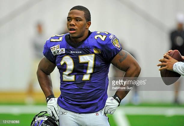 Baltimore Ravens running back Ray Rice attends training camp in Owings Mills, Maryland, Monday, August 15, 2011.