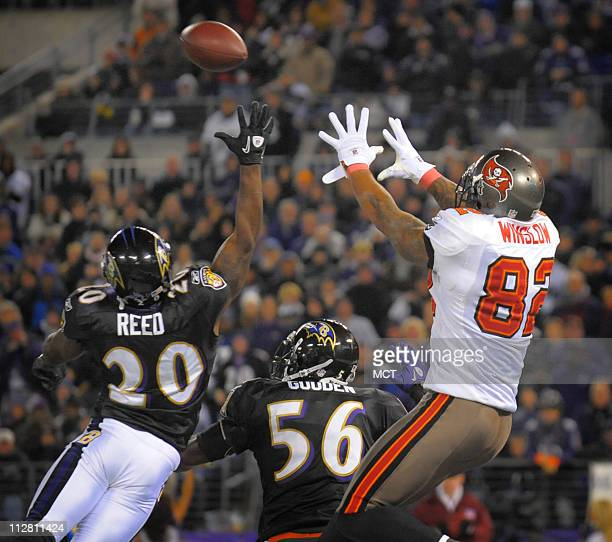 Baltimore Ravens safety Ed Reed and linebacker Tavares Gooden successfully defend a first half pass in the endzone intended for Tampa Bay Buccaneers...