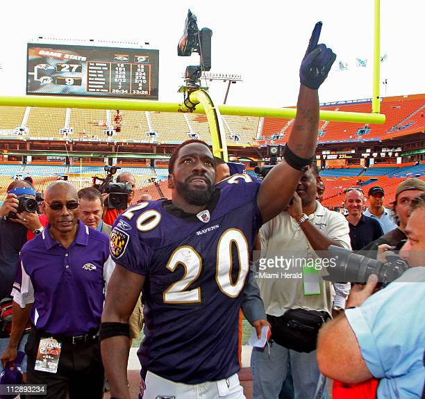 Baltimore Ravens safety Ed Reed celebrates the Ravens' 279 win over the Miami Dolphins at Dolphin Stadium in Miami Florida Sunday January 4 2009