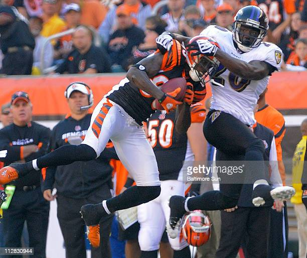 Baltimore Ravens safety Ed Reed latches onto Cincinnati Bengals wide receiver Chad Ochocinco who gains a first down in firstquarter action at Paul...