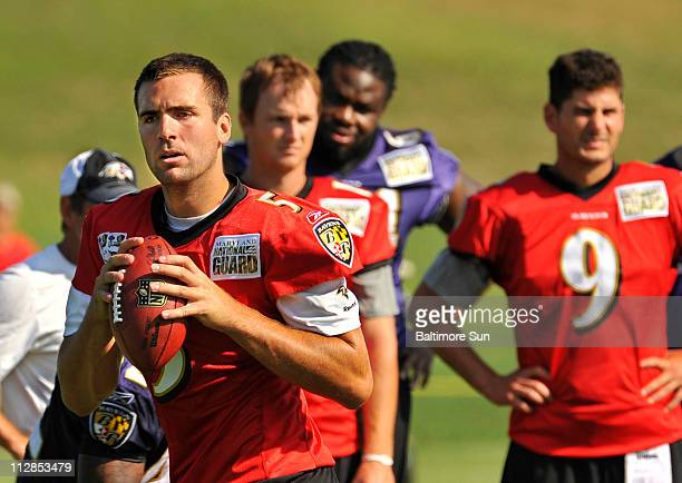 Baltimore Ravens starting quarterback Joe Flacco looks to pass during the first day of the Ravens' training camp in Westminister, Maryland, Tuesday,...