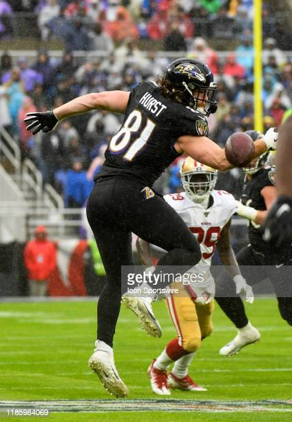 Baltimore Ravens tight end Hayden Hurst cannot make a reception against the San Francisco 49ers on December 1 at MT Bank Stadium in Baltimore MD