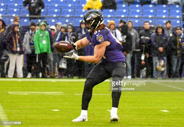 Baltimore Ravens tight end Hayden Hurst warms up for the game against the Tampa Bay Buccaneers on December 16 at MT Bank Stadium in Baltimore MD