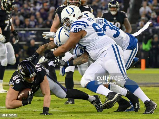 Baltimore Ravens tight end Nick Boyle in action against Indianapolis Colts defensive tackle Grover Stewart on December 23 at MT Bank Stadium in...