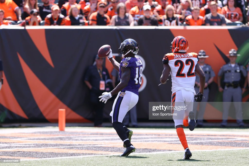 Baltimore Ravens wide receiver Jeremy Maclin (18) scores a touchdown during the NFL game against the Baltimore Ravens and the Cincinnati Bengals on September 10th 2017, at Paul Brown Stadium in Cincinnati, OH.