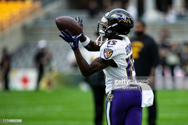 Baltimore Ravens wide receiver Marquise Brown catches a pass during the NFL football game between the Baltimore Ravens and the Pittsburgh Steelers on...